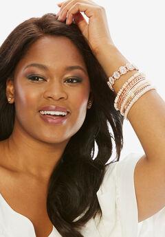Mixed Bangle Bracelet, ROSE GOLD, hi-res