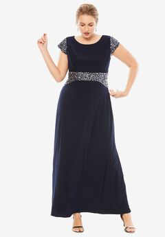 Cap Sleeve Dress by Alex Evenings, NAVY, hi-res