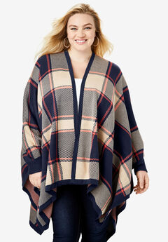Plaid Poncho Cardigan, NAVY BOLD PLAID