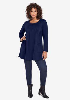 Long-Sleeve Two-Pocket Soft Knit Tunic, NAVY