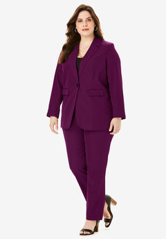 Straight-Leg Pantsuit with Blazer, DARK BERRY