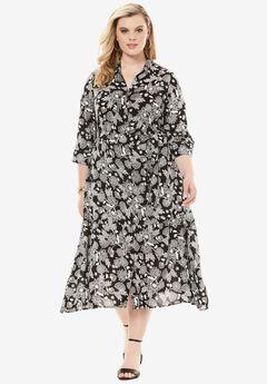Keyhole Belted Shirtdress, BLACK FLORAL PRINT, hi-res