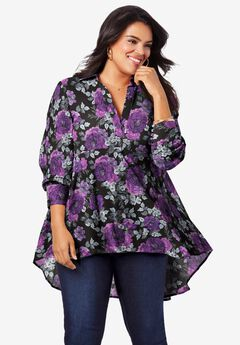 Fit-and-Flare Crinkle Tunic,
