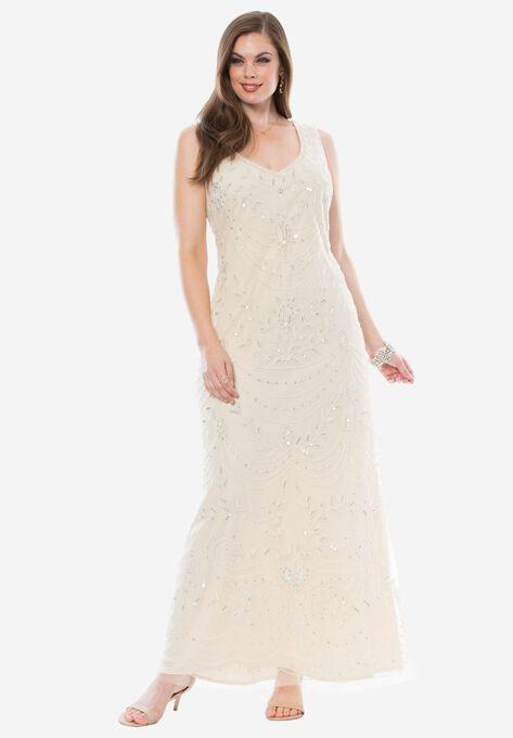 Beaded Dress By Pisarro Nights Plus Size Evening Dresses Roamans