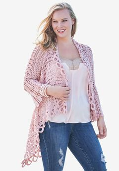 Crochet Starburst-Stitch Cardigan,