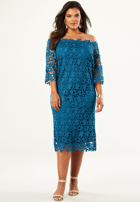 Off The Shoulder Lace Dress Plus Size Cocktail Dresses Roamans