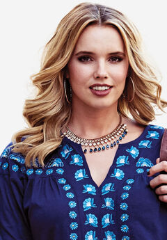 Studded Necklace with Gems, NAVY, hi-res