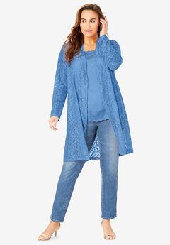 Stretch Lace Cardigan, HORIZON BLUE