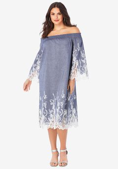 Eyelet Off-The-Shoulder Dress,