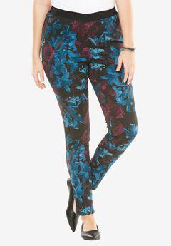 Roaman's® Super Stretch Printed Leggings, FLORAL PRINT, hi-res