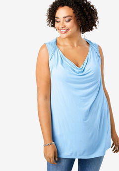 Cowl-Neck Drape Tank with Twist Detail,