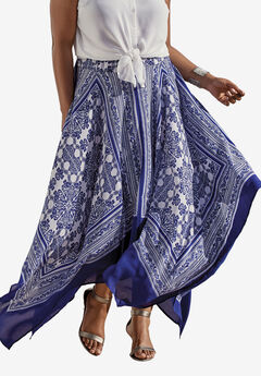 Designer Collection Handkerchief Hem Skirt, ROYAL COBALT SCARF PRINT, hi-res
