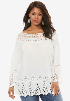 Bell-Sleeve Embroidered Lace Tunic, WHITE, hi-res