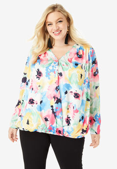 Wrap-Front Blouse with High-Low Hem, BRUSHSTROKE FLORAL