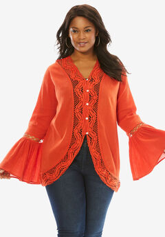 Crochet Bell Sleeve Tunic, FLAME RED, hi-res