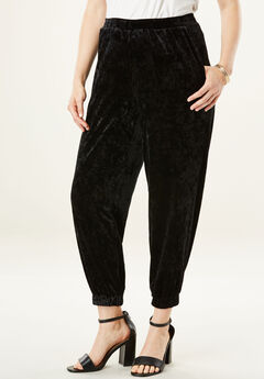 Crushed Velour Jogger, BLACK