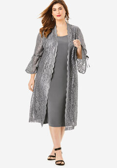 Lace Duster Jacket Dress Set, SLATE