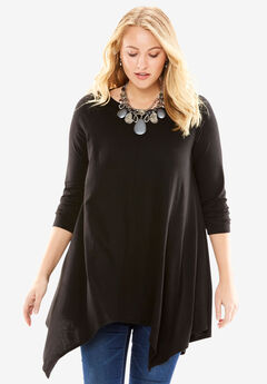 Asymmetric Tunic, BLACK, hi-res