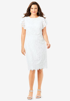Lace Sheath Dress with Flutter Sleeves, WHITE