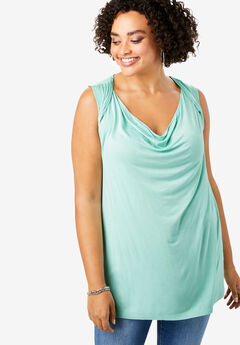 Cowl-Neck Drape Tank, ICED MINT
