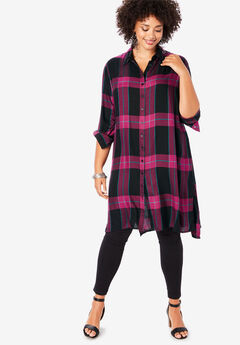 Button-Front Ultra Tunic, BLACK BERRY PLAID