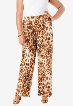 Wide-Leg Pant, NATURAL ANIMAL PRINT