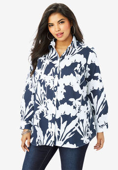 Long-Sleeve Kate Shirt, NAVY WHITE FLORAL