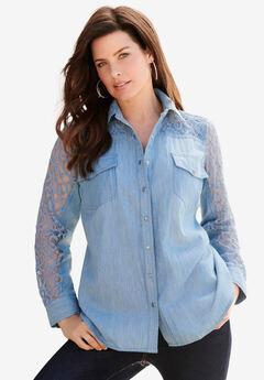 Lace-Sleeve Denim Big Shirt, LIGHT STONEWASH