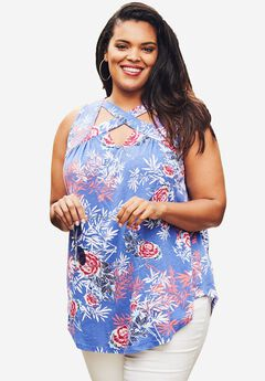 Cutout Swing Tunic Tank., DARK BLUE MULTI FLORAL PRINT, hi-res