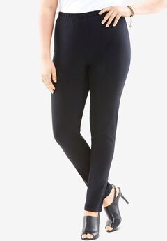 Skinny-Leg Pull-On Stretch Jean, BLACK DENIM