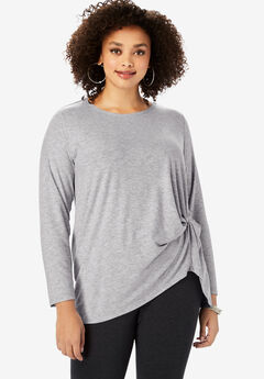 Knot Front Tee with High-Low Hem,