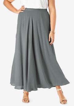 Georgette Maxi Skirt, SLATE