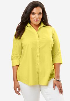 Three-Quarter Sleeve Kate Shirt, VIBRANT YELLOW
