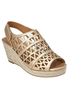 Karen Wedge Sandals by Comfortview®, GOLD, hi-res