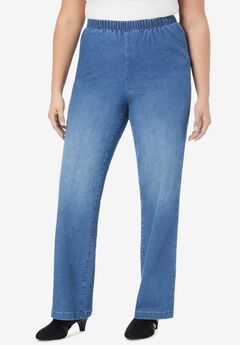 Wide-Leg Pull-On Stretch Jean by Denim 24/7®, LIGHT STONEWASH SANDED