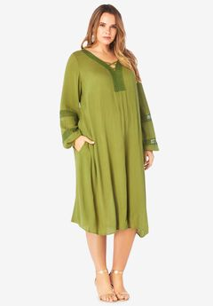 Lace-Detailed Crinkle Shirtdress,