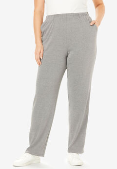 Straight-Leg Soft Knit Pant, MEDIUM HEATHER GREY