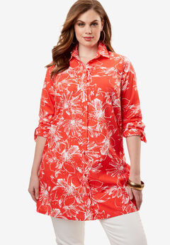 Kate Tunic, CORAL RED FLORAL, hi-res