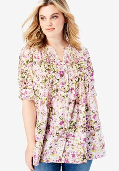 High-Low Pintuck Tunic, SMALL PURPLE FLORAL