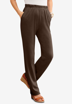 Straight-Leg Soft Knit Pant, CHOCOLATE