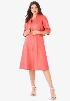 Embellished Fit-and-Flare Jacket Dress,