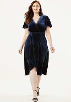 Stretch Velvet Dress with Faux Wrap Front,