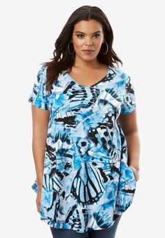 Butterfly Tunic, NAVY BUTTERFLY PRINT