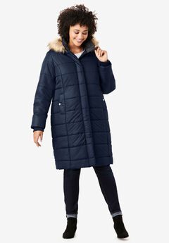 Mid-Length Quilted Parka with Hood, NAVY