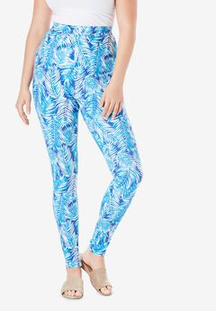 Essential Stretch Legging, BLUE SUMMER LEAVES