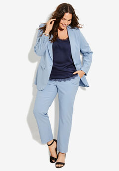 Straight-Leg Pantsuit with Blazer, PALE BLUE