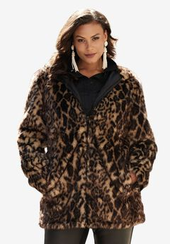 Short Faux Fur Coat, ANIMAL PRINT, hi-res