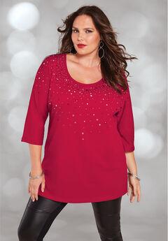 Three-Quarter Sleeve Embellished Tunic, CLASSIC RED