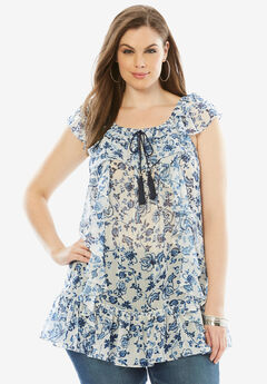Ruffle Chiffon Top, WHITE NAVY PORCELAIN, hi-res
