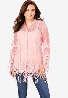Lace Crochet Tunic with Bell Sleeves,